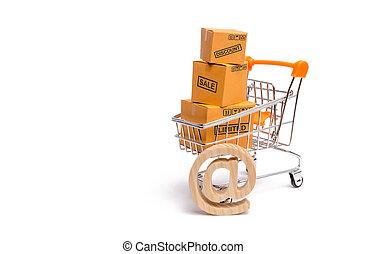commerce, supermarché, exportation, achat, charrette, marchandises, power., turnover., ligne, concept, merchandise:, services, achats, vente, boîtes, internet, commercer, achat, importation
