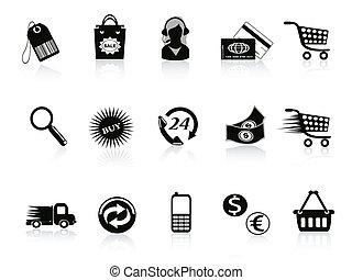 commerce, vente au détail, ensemble, icônes