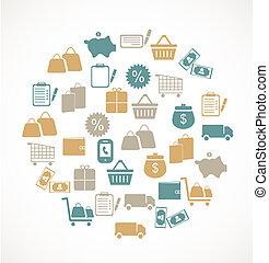 commerce, vente au détail, icônes
