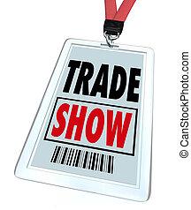 commercer, exposition, convention, écusson, registre, pour, conférence, ou, événement