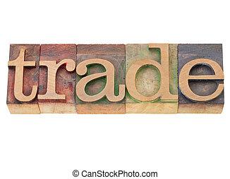 commercer, mondiale, dans, letterpress, type