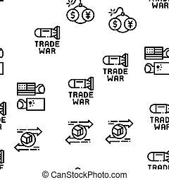 commercer, vecteur, business, modèle, guerre, seamless