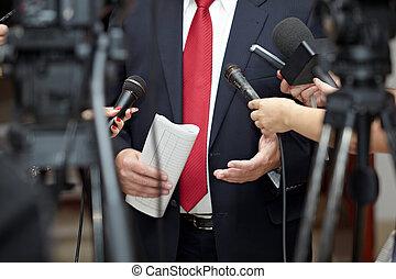commerciële vergadering, conferentie, journaal