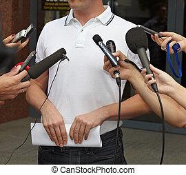 commerciële vergadering, conferentie, journalistiek, microfoons
