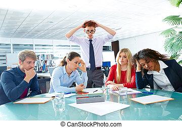commerciële vergadering, negatief, droevige uitdrukking, ...