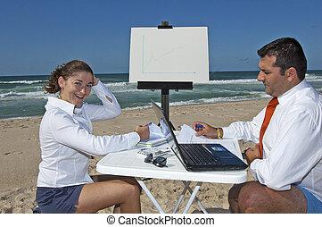 commerciële vergadering, op het strand