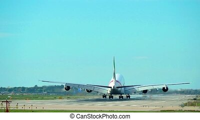 The Airbus A380 is a double-deck, wide-body, four-engine jet airliner manufactured by the European aircraft company Airbus. It is the world's largest passenger airliner. Flight EK185 of Emirates Airlines from Dubai to Barcelona. Aircraft Airbus A380 landing at Barcelona Airport. Large passenger ...