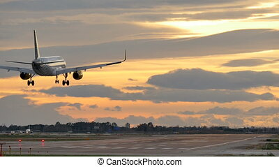 Commercial Aircraft Landing at Barcelona Airport