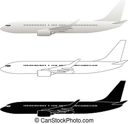 Commercial Airliner Passenger Jet Vector Illustrations