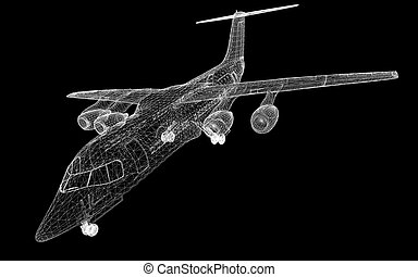 Commercial Airliner, Jet,body structure, wire model