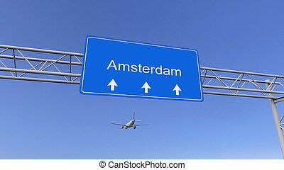 Commercial airplane arriving to Amsterdam airport. Travelling to Netherlands conceptual 3D rendering