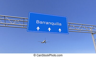 Commercial airplane arriving to Barranquilla airport. Travelling to Colombia conceptual 3D