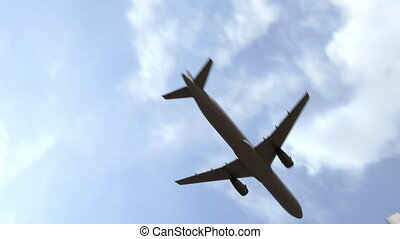 Commercial airplane arriving to Madrid, Spain. 3D animation...