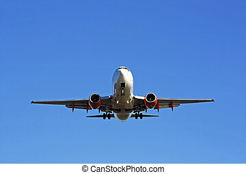 Commercial airplane - Below view of a commercial airplane, ...
