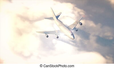 Commercial airplane flying above the clouds 4K