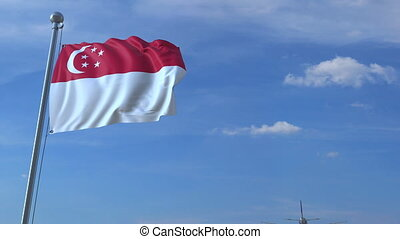 Commercial airplane flying above waving flag of Singapore....