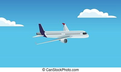 Commercial airplane flying HD animation - Airplane flying in...