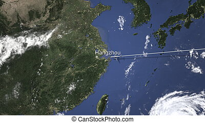 Commercial airplane flying to Hangzhou, China. 3D rendering