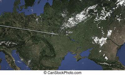 Commercial airplane flying to Kiev, Ukraine. 3D rendering
