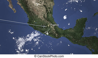 Commercial airplane flying to Puebla, Mexico. 3D rendering
