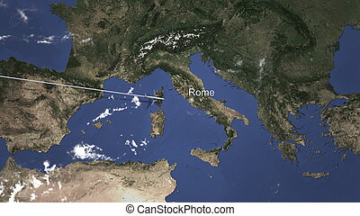 Commercial airplane flying to Rome, Italy. 3D rendering