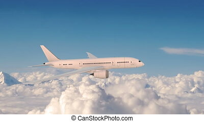 Commercial airplane in flight, plane flying above clouds..