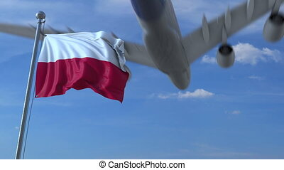Commercial airplane landing behind waving Polish flag. Travel to Poland conceptual animation