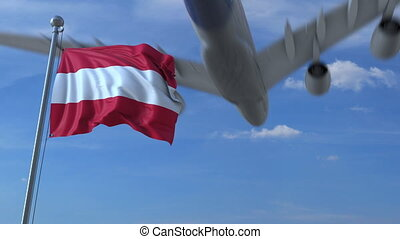 Commercial airplane landing behind waving flag. Travel conceptual animation