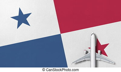 Commercial airplane on the flag of Panama. Travel related...