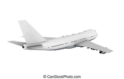 Commercial Airplane isolated on white background. 3D render