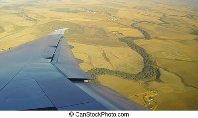 Commercial airplane - Wing of commercial airplane flight ...