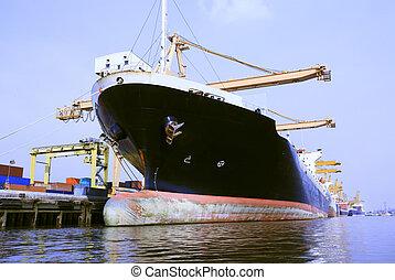 commercial, bateau, chargement, récipient, port