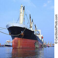 commercial, bateau, flotter, port, récipient, rivière, importation, usage
