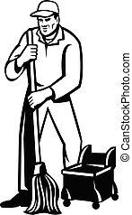 commercial, blanc, nettoyage, noir, plancher, nettoyeur, concierge, éponger, ou, retro