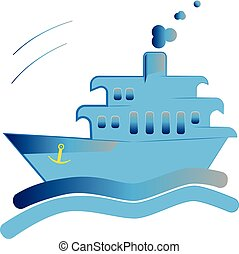 Commercial boat side view isolated icon