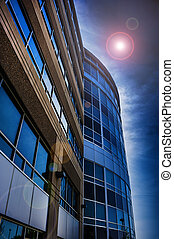 commercial building with lens flare