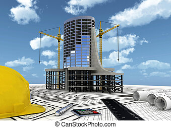 Concept of Planning, constructing and building a commercial building project