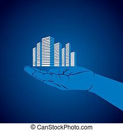 commercial building in hand vector