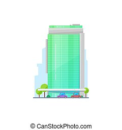 Commercial building, vector financial construction