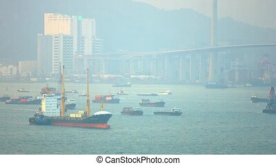 Commercial Cargo Ships Anchored in an Urban Harbor. Video