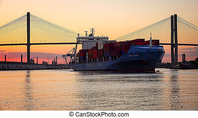 Commercial Container / Cargo Ship on Savannah River at...