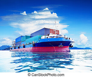 commercial container ship in naval transportation use for...