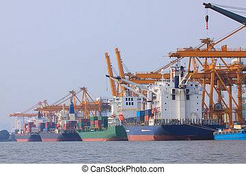 commercial container ship on port use for water transport and sh