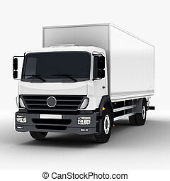 Commercial Delivery / Cargo Truck 3d render isolated on...