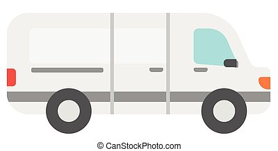 Commercial delivery truck vector flat design illustration...