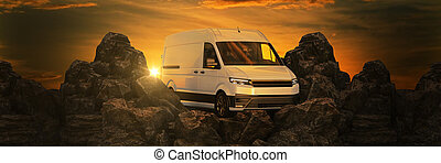 commercial delivery vans against sunset and mountains. 3d rendering