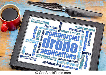 commercial drone applications word cloud on a digital tablet...