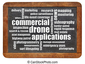 commercial drone applications word cloud on a vintage...