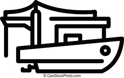 Commercial fishing boat icon, outline style
