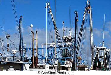 Commercial fishing boat nets